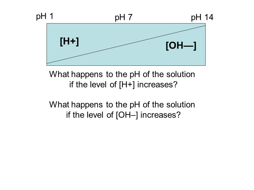[H+] [OH—] pH 1 pH 7 pH 14 What happens to the pH of the solution